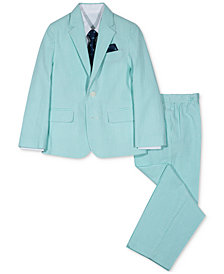 Nautica 4-Pc. Seersucker Suit Jacket, Shirt, Pants & Necktie Set, Little Boys