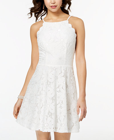 BCX Juniors' Scalloped Daisy Lace Fit & Flare Dress