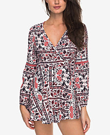 Roxy Juniors' Twilight Adventure Printed Crochet-Trimmed Romper