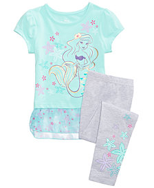 Disney's Little Mermaid Princess Ariel 2-Pc. Graphic-Print Peplum Top & Leggings Set, Toddler Girls