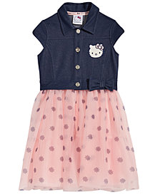 Hello Kitty Layered-Look Denim-Bodice Dress, Little Girls