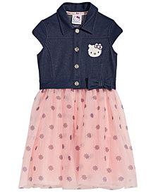 Hello Kitty Layered-Look Denim-Bodice Dress, Little Girls
