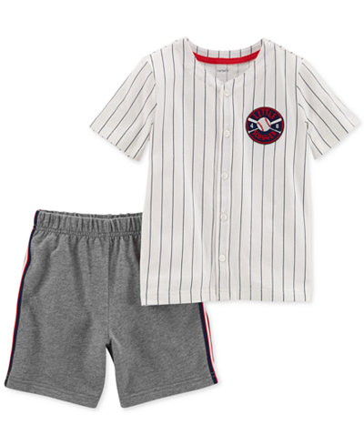 Carter's 2-Pc. Striped Cotton Shirt & Shorts Set, Toddler Boys