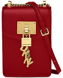 Elissa Pebble Leather Charm Chain Strap Crossbody, Created for Macy's