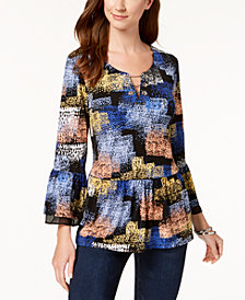 JM Collection Printed Bell-Sleeve Top, Created for Macy's