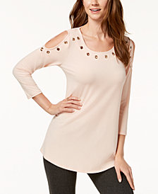 JM Collection Grommet Cold-Shoulder Top, Created for Macy's