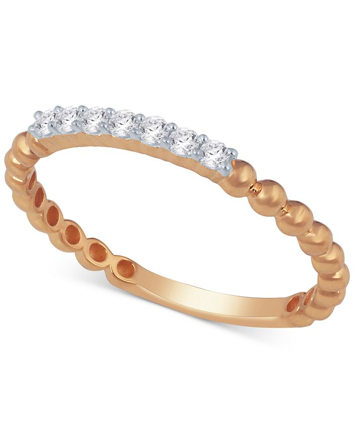 Macy's - Diamond Stackable Beaded Band (1/8 ct. t.w.)