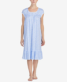 Eileen West Waltz Venise-Lace-Trim Knit Nightgown
