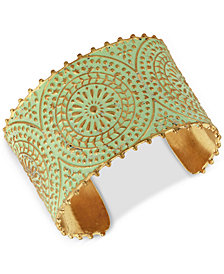 Lucky Brand Gold-Tone Patina Decorative Cuff Bracelet