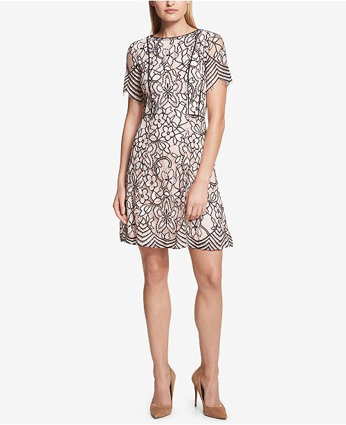 kensie Two-Tone Lace A-Line Dress