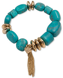 Lauren Ralph Lauren Gold-Tone Blue Bead Stretch Bracelet