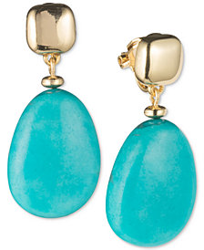 Lauren Ralph Lauren Gold-Tone Blue Stone Clip-On Drop Earrings