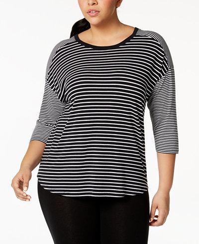Calvin Klein Performance Plus Size Mixed-Stripe Drop-Shoulder Top
