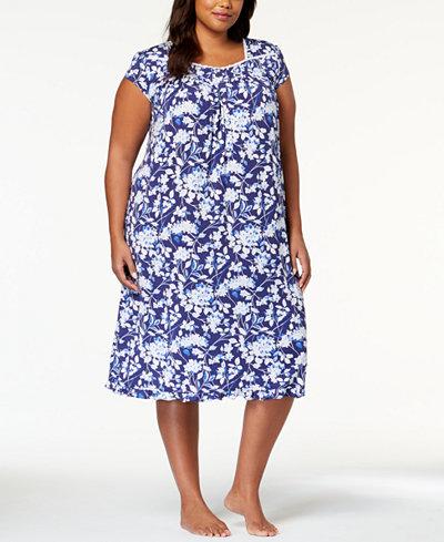 f1a8c8efd9 Eileen West Plus Size Waltz Lace-Trim Ruffle-Hem Nightgown ...