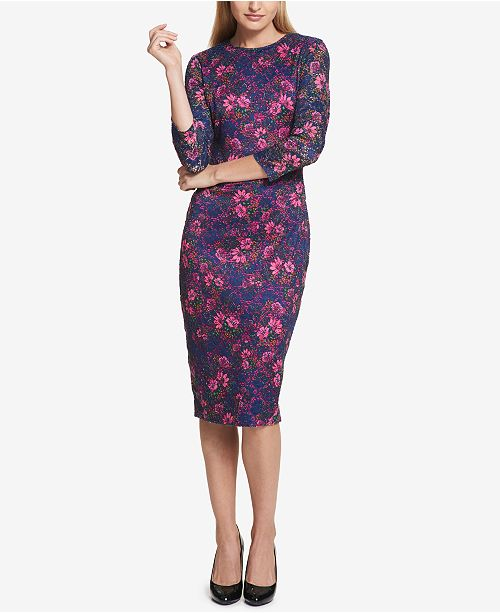cbf8b9e877 kensie Floral-Print Peekaboo Lace Dress   Reviews - Dresses - Women ...