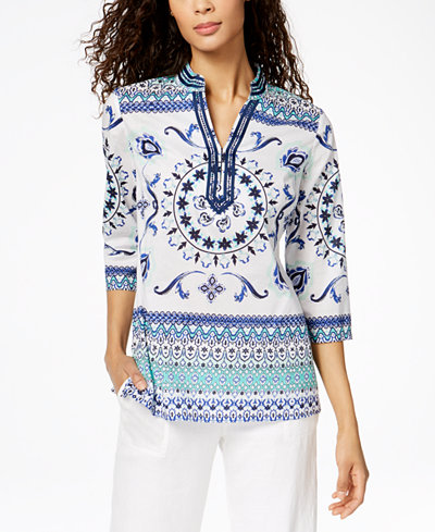 Charter Club Cotton Embellished Split-Neck Tunic, Created for Macy's