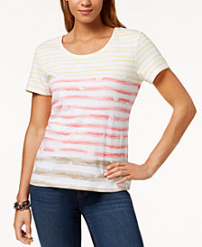 Karen Scott Puffed-Print Striped T-Shirt, Created for Macy's