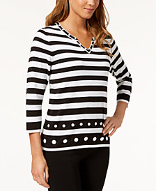 Alfred Dunner Upper East Side Embellished Split-Neck Sweater
