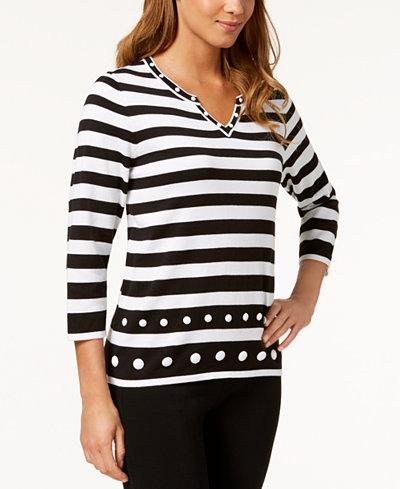Alfred Dunner Upper East Side Embellished Split-Neck Sweater