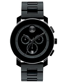 Men's Swiss Chronograph Bold Large Black Polymer Bracelet Watch 44mm 3600048