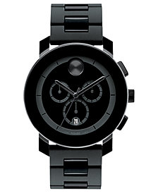 Movado Men's Swiss Chronograph Bold Large Black Polymer Bracelet Watch 44mm 3600048