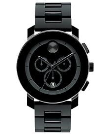 Movado Men's Swiss Chronograph Bold Large Black Polymer Bracelet Watch 44mm 3600048