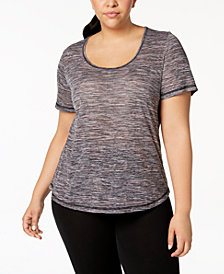 Ideology Plus Size Space-Dyed Mesh-Back Top, Created for Macy's