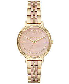 Michael Kors Women's Cinthia Two-Tone Stainless Steel Bracelet Watch 33mm, Created for Macy's