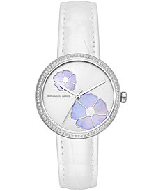 Michael Kors Women's Courtney White Leather Strap Watch 36mm