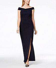 Calvin Klein Off-The-Shoulder Slit Gown