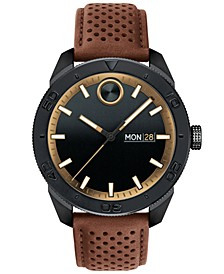 Men's Swiss BOLD Sport Brown Leather Strap Watch 43mm