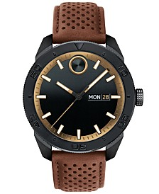 Movado Men's Swiss BOLD Sport Brown Leather Strap Watch 43mm