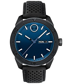 Movado Men's Swiss BOLD Sport Black Leather Strap Watch 43mm