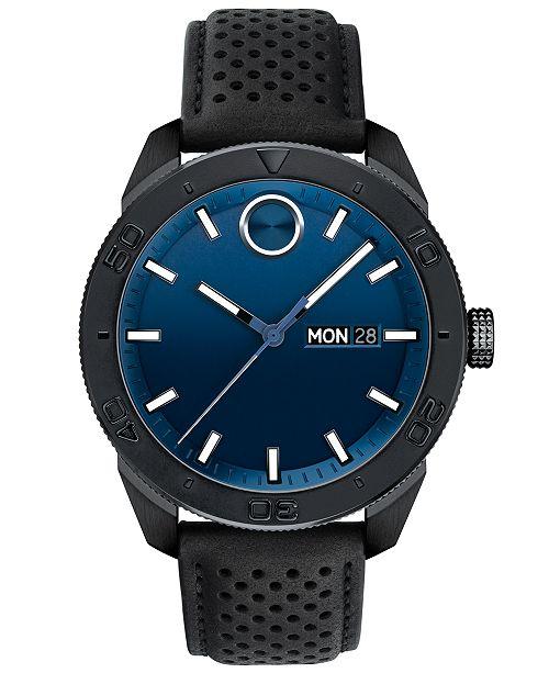 Movado Men's Swiss BOLD Sport Black Leather Strap Watch 43mm