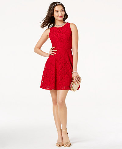 Speechless Juniors Lace Fit Amp Flare Tank Dress Created