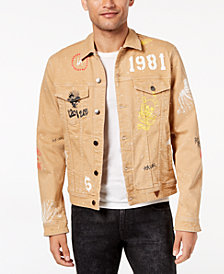 GUESS Men's Paint-Splatter Graffiti-Print Denim Jacket
