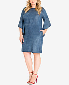 standards and practices Trendy Plus Size Denim Shift Dress