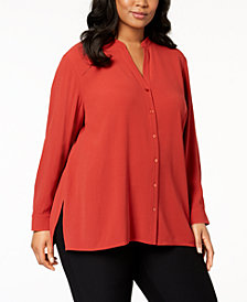 Eileen Fisher Plus Size Silk Stand-Collar Tunic