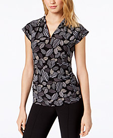Anne Klein Printed Ruched Top