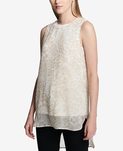 Calvin Klein Sleeveless Printed High-Low Tunic