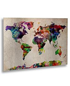 "Michael Tompsett 'Watercolor World Map' 16"" x 22"" Floating Brushed Aluminum Art"