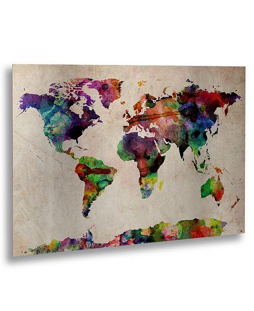 "Trademark Global Michael Tompsett 'Watercolor World Map' Floating Brushed Aluminum Art - 16"" x 22"""