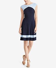 American Living Colorblocked Cap-Sleeve Dress