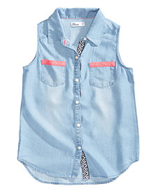 Epic Threads Button-Front Shirt, Big Girls, Created for Macy's