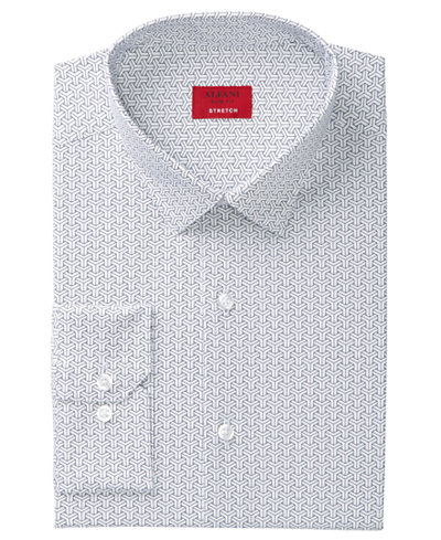 Alfani Men's Slim-Fit Oversize Geometric Print Dress Shirt, Created for Macy's