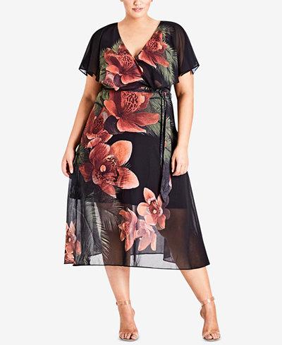 City Chic Trendy Plus Size Floral-Print Midi Dress