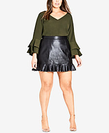 City Chic Trendy Plus Size Ruffled Faux-Leather Skirt