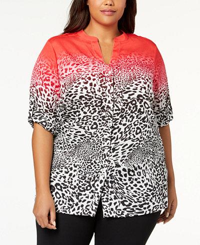 Calvin Klein Plus Size Striped Utility Tunic