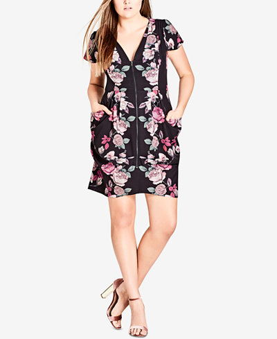 City Chic Trendy Plus Size Floral-Print Tunic Dress