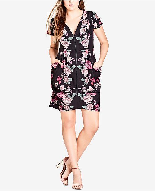 City Chic Trendy Plus Size Floral Print Tunic Dress Dresses Plus